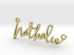 Nathalie Script First Name Pendant in 18k Gold Plated Brass
