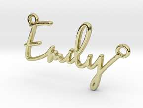 Emily Script First Name Pendant in 18k Gold Plated Brass