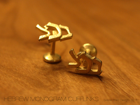 "Hebrew Monogram Cufflinks - ""Beis Tzaddei Chof"" in Polished Gold Steel"