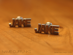 Custom Name Cufflinks - Jake in Polished Bronzed Silver Steel