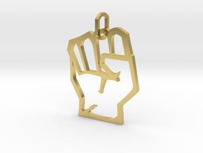 Avengers Hand Logo Pendant in Polished Brass (Interlocking Parts)
