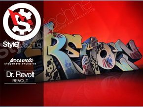 REVOLT graffiti sculpture in Natural Full Color Sandstone: Small