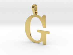 G Letter Pendant Small in Polished Brass (Interlocking Parts)