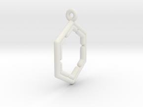 Hexagonal Pendant in White Natural Versatile Plastic