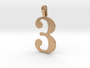3 Number Pendant in Natural Bronze (Interlocking Parts)