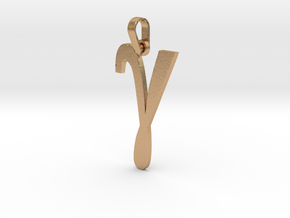 Gamma Sign Pendant V2 in Natural Bronze (Interlocking Parts)
