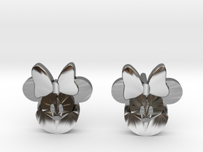 Minnie Mouse Earrings in Fine Detail Polished Silver: Medium