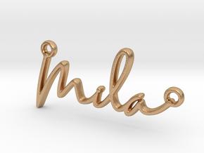 Mila Script First Name Pendant in Natural Bronze