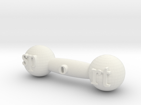 Mini dumbbell in White Natural Versatile Plastic: Small