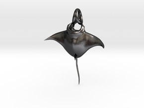 Manta Ray Pendant in Polished and Bronzed Black Steel