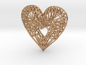 Geometric Heart Pendant in Polished Bronze