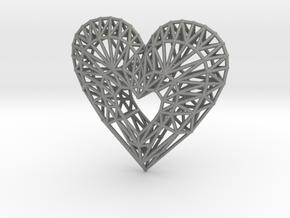 Geometric Heart Pendant in Gray PA12