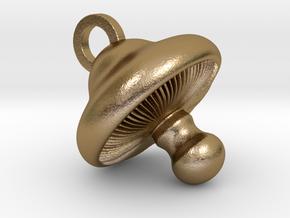 Little Mushroom Pendant in Polished Gold Steel