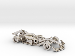 F1 2025 'Simplified' car 1/64 - with driver in Rhodium Plated Brass