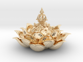Fractal lotus V 0.2  in 14k Gold Plated Brass