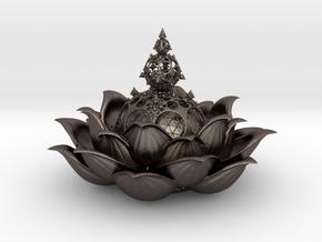 Fractal lotus V 0.2  in Polished Bronzed-Silver Steel