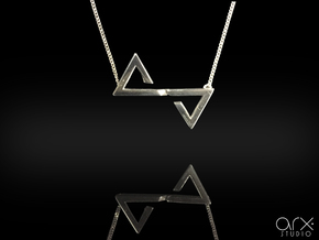 Sutura Pendant in Rhodium Plated Brass: Small