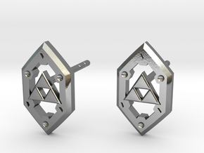 Zelda Shield Studs in Polished Silver