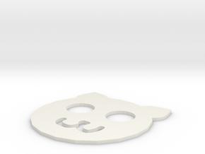 Cat Coaster in White Natural Versatile Plastic