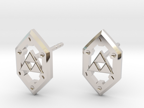 Zelda Shield Studs in Rhodium Plated Brass