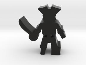 Pirate Skeleton, sword, peg leg, 25mm, Larger ver in Black Natural Versatile Plastic