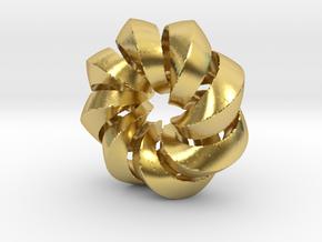 F - Helix in Polished Brass (Interlocking Parts)