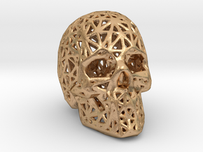 Human Skull with Pattern in Natural Bronze