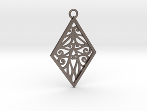 Tiana pendant in Polished Bronzed-Silver Steel: Large