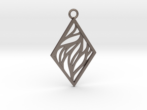 Aethra pendant in Polished Bronzed-Silver Steel: Large