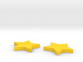 Star earrings in Yellow Processed Versatile Plastic