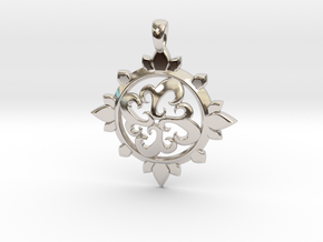Earth Design Pendant in Rhodium Plated Brass