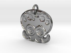 Splatoon Octoling Pendant in Fine Detail Polished Silver