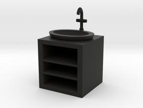 Open Fronted Modern Bathroom Sink in Black Natural Versatile Plastic: 1:12