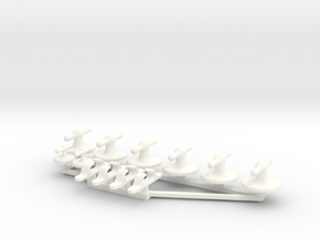 Elco Chocks & Cleats 1:12 scale in White Processed Versatile Plastic