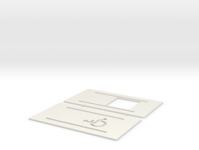 Handicap Parking Templates (HO) in White Natural Versatile Plastic: 1:87 - HO
