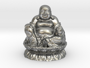 Laughing Buddha in Natural Silver