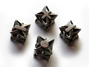 Fudge Pinwheel d6 4d6 Set in Polished Bronzed Silver Steel