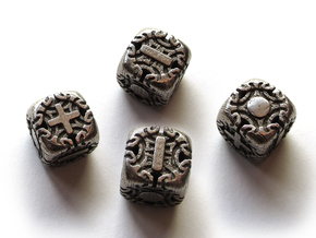 Fudge Art Nouveau d6 4d6 Set in Polished Bronzed Silver Steel