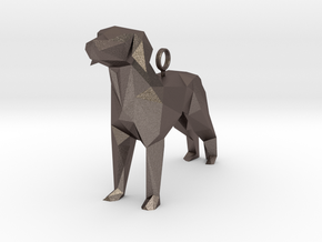 Simple Dog Pendant in Low-Poly Style  in Polished Bronzed-Silver Steel