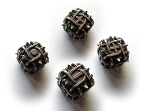 Fudge Thorn Die6 4d6 Set in Polished Bronzed Silver Steel