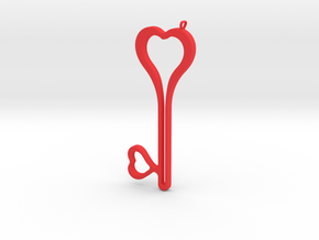 Heart Key Necklace-24 in Red Processed Versatile Plastic