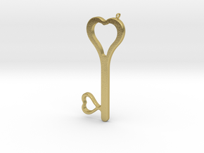 Hearts Key Necklace-25 in Natural Brass