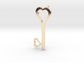 Hearts Key Necklace-25 in 14K Yellow Gold