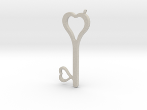 Hearts Key Necklace-25 in Natural Sandstone