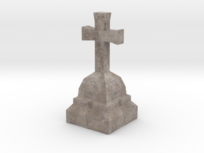 Medieval Miniature Stone Cross 02 in Natural Full Color Sandstone