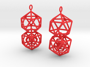 Icosahedron Dodecahedron Earrings in Red Processed Versatile Plastic