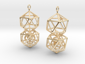 Icosahedron Dodecahedron Earrings in 14K Yellow Gold