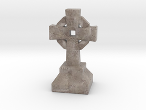 Miniature Stone Cross 03 in Natural Full Color Sandstone