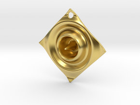 Cosine Ripple Earring or pendant in Polished Brass