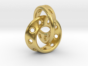 Möbius Band pendant interlocked in Polished Brass (Interlocking Parts)